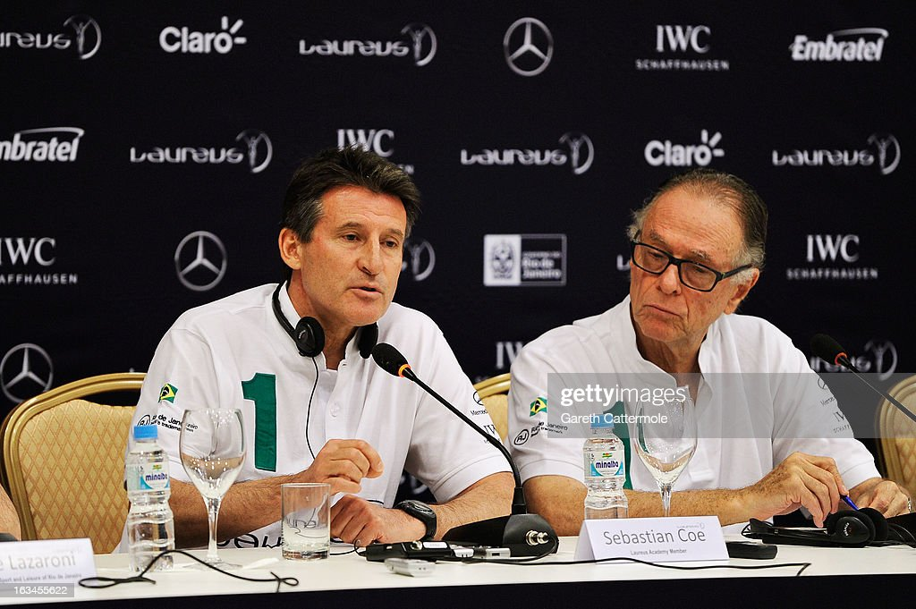 Laureus Academy Member Lord Sebastian Coe (L) with Carlos Nuzman, Head of the Organising Commitee for Rio De Janeiro 2016 attend the Sport and Development in Rio De Janerio Press Conference during the 2013 Laureus World Sports Awards on March 10, 2013 in Rio de Janeiro, Brazil.