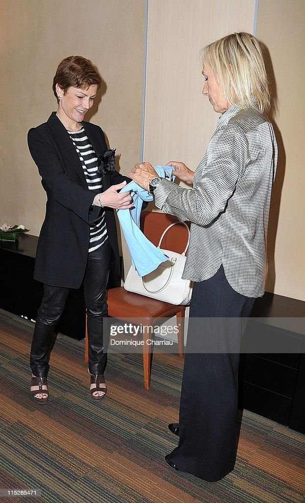 Laureus Academy member <a gi-track='captionPersonalityLinkClicked' href=/galleries/search?phrase=Martina+Navratilova&family=editorial&specificpeople=201523 ng-click='$event.stopPropagation()'>Martina Navratilova</a> (R) and French Sports Minister <a gi-track='captionPersonalityLinkClicked' href=/galleries/search?phrase=Chantal+Jouanno&family=editorial&specificpeople=5673060 ng-click='$event.stopPropagation()'>Chantal Jouanno</a> meet to discuss possible projects in cooperation with the French Sports Ministry at Ministere De La Jeunesse Et Des Sports on June 6, 2011 in Paris, France.