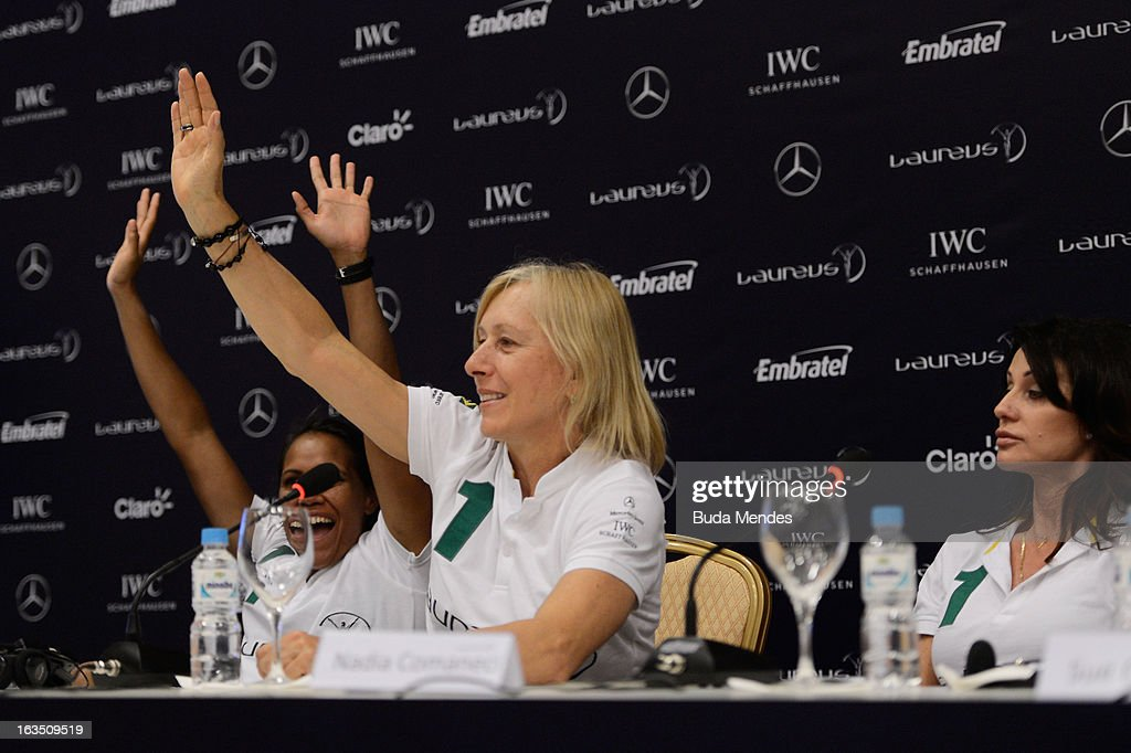 Laureus Academy Member <a gi-track='captionPersonalityLinkClicked' href=/galleries/search?phrase=Martina+Navratilova&family=editorial&specificpeople=201523 ng-click='$event.stopPropagation()'>Martina Navratilova</a> attends the Women In Sport Press Conference at the Windsor Atlantica during the 2013 Laureus World Sports Awards on March 11, 2013 in Rio de Janeiro, Brazil.