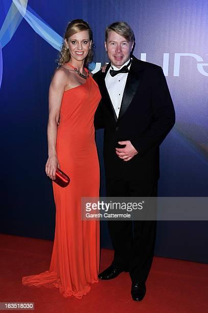 Laureus Academy Member Mika Hakkinen and guest attend the 2013 Laureus World Sports Awards at the Theatro Municipal Do Rio de Janeiro on March 11...