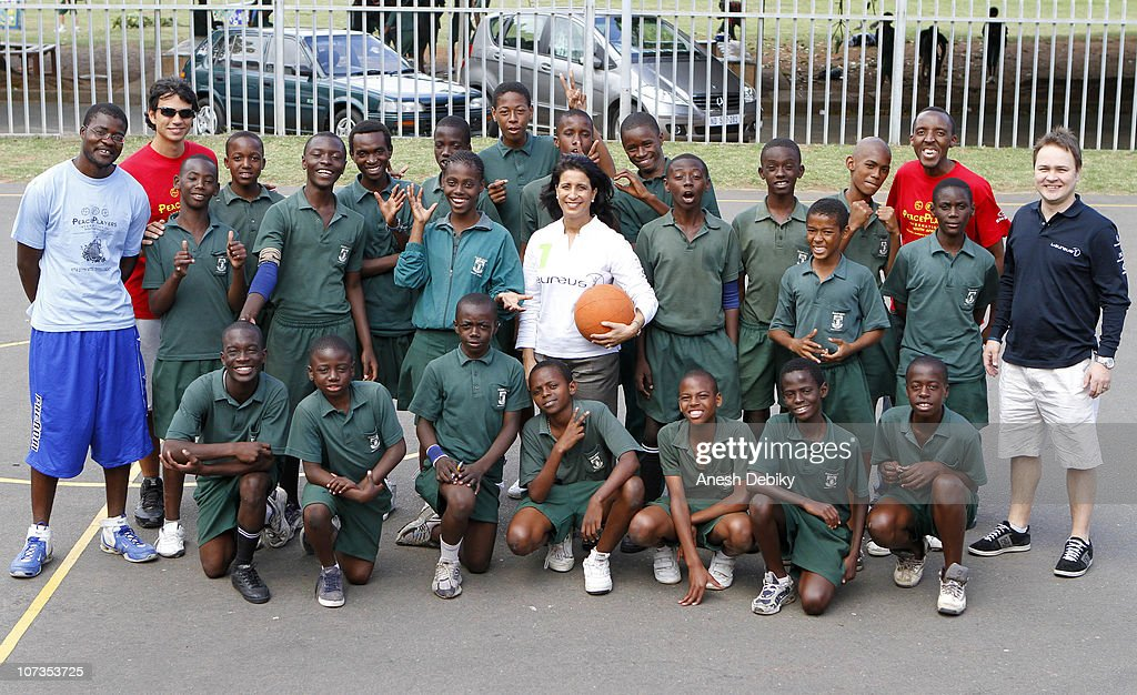 Laureus Academy Member Nawal El Moutawakel visits the Laureus PeacePlayers Project on December 06, 2010 in Durban, South Africa.