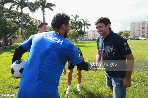 Laureus Academy Member Raul Gonzalez visits a Laureussupported Up2Us Sports project ahead of El Clasico on July 28 2017 in Miami Florida