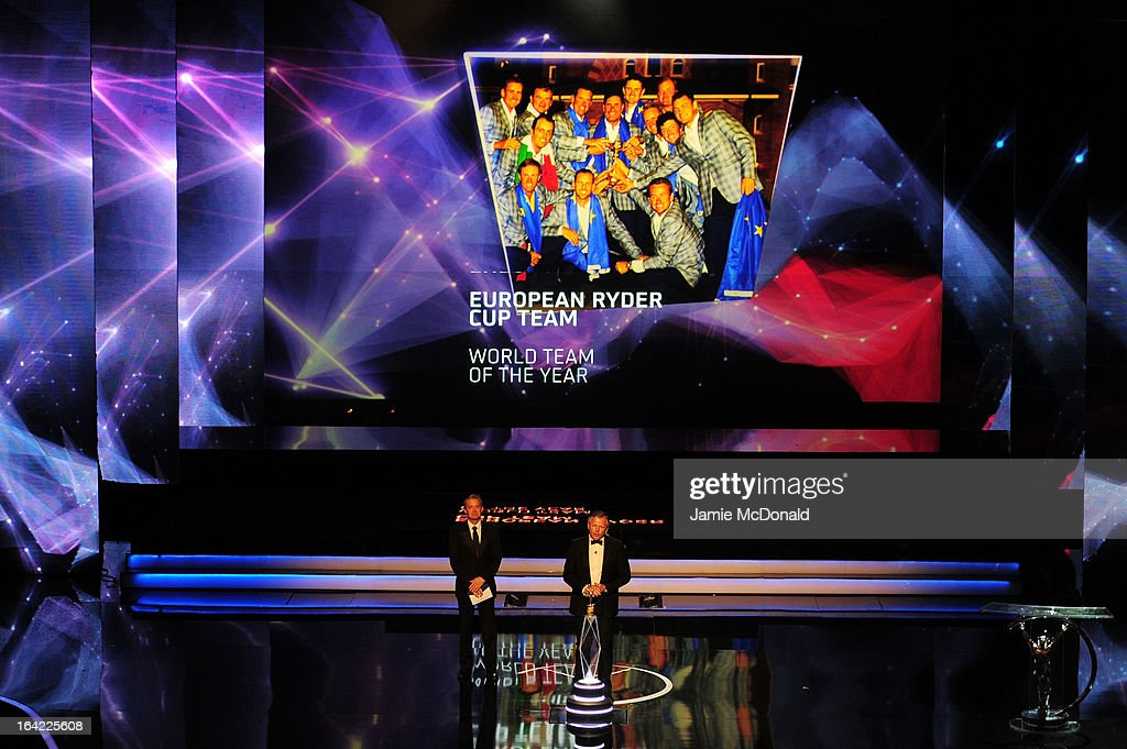 Laureus Academy Member Sean Fitzpatrick announces the European Ryder Cup Team as winners of Laureus World Team of the Year on stage as presenter Kyle Maclachlan looks on during the awards show for the 2013 Laureus World Sports Awards at the Theatro Municipal Do Rio de Janeiro on March 11, 2013 in Rio de Janeiro, Brazil.