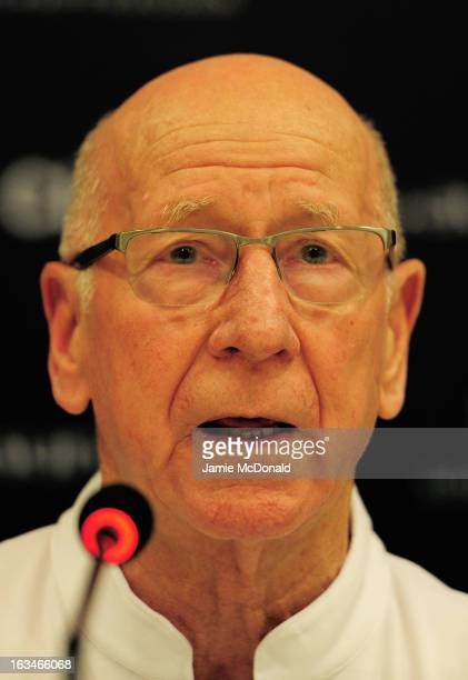 Laureus Academy Member Sir Bobby Charlton attends the Football press conference at the Windsor Atlantic during day 2 of the 2013 Laureus World Sports...