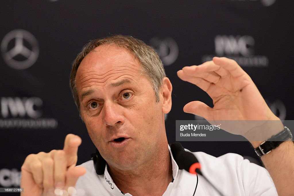 Laureus Academy Member Sir <a gi-track='captionPersonalityLinkClicked' href=/galleries/search?phrase=Steve+Redgrave&family=editorial&specificpeople=171908 ng-click='$event.stopPropagation()'>Steve Redgrave</a> attends the Laureus/AIPS Integrity In Sport Press Discusssion at the Windsor Atlantica during the 2013 Laureus World Sports Awards on March 11, 2013 in Rio de Janeiro, Brazil.