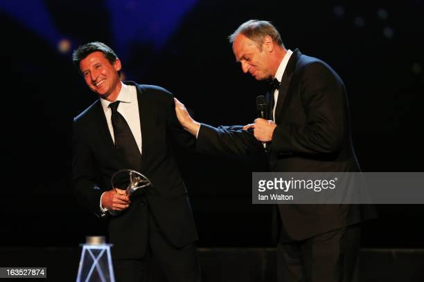 Laureus Academy Member Sir Steve Redgrave speaks as the 'Laureus Lifetime Achievement Award' is given to Laureus Academy Member Lord Sebastian Coe...