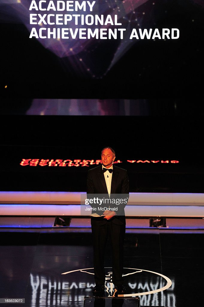 Laureus Academy Member Sir Steve Redgrave speaks on stage as he announces the Laureus Academy Exceptional Acheivement Award during the awards show for the 2013 Laureus World Sports Awards at the Theatro Municipal Do Rio de Janeiro on March 11, 2013 in Rio de Janeiro, Brazil.