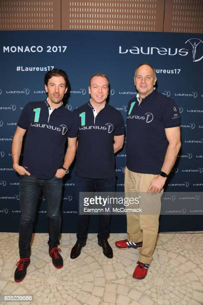 Laureus Academy Members Fabian Cancellara Sir Chris Hoy Sir Steve Redgrave pose at a press conference prior to the 2017 Laureus World Sports Awards...