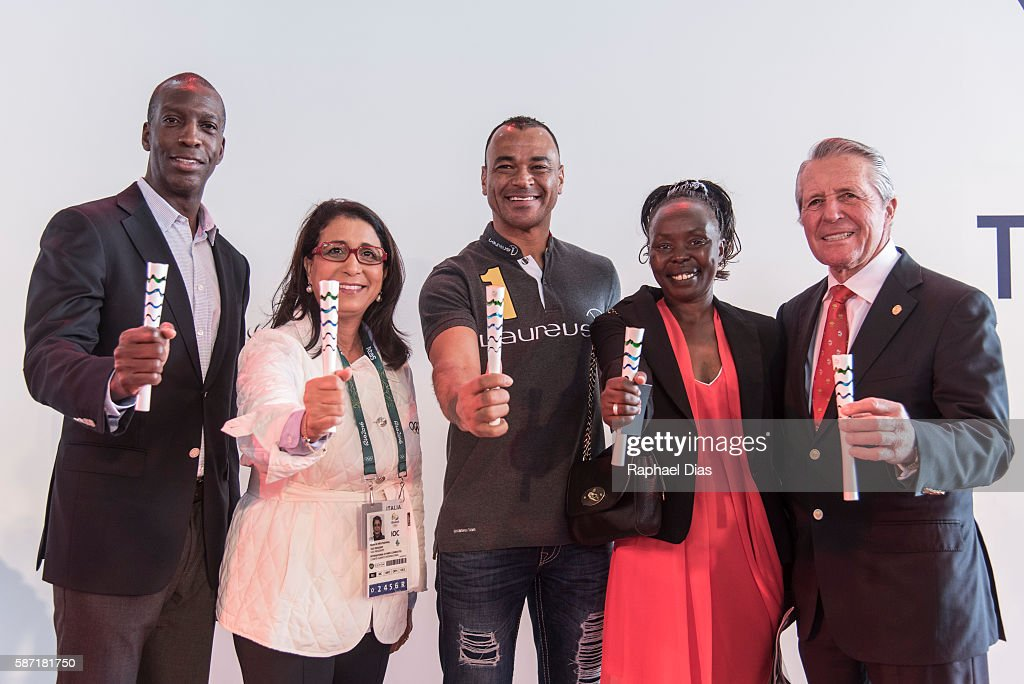 Laureus Academy Members Michael Johnson, Nawal El Moutawakel, Cafu, Tegla Laroupe, Gary Player at the Laureus AIPS Olympics Welcome Event on August 8, 2016 in Rio de Janeiro, Brazil.