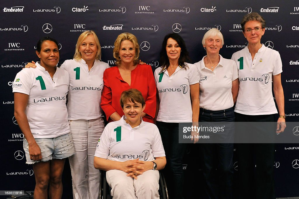 Laureus Academy Members Tanni Grey - Thompson (Front Row) ,(Back Row L-R) Laureus Academy Members Cathy Freeman, Martina Navratilova, Olympic Medalist Donna De Varona, Laureus Academy Member Nadia Comaneci and Sue Campbell, Chairman of UK Sport with Beth Brooke, Global Vice Chair of Ernst & Young attends the Women In Sport Press Conference at the Windsor Atlantica during the 2013 Laureus World Sports Awards on March 11, 2013 in Rio de Janeiro, Brazil.