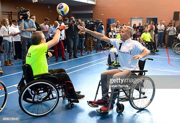 Laureus Ambassador and former tennis player Alex Corretja in action during a korfball match at the Insitut Guttmann on April 9 2015 in Barcelona Spain