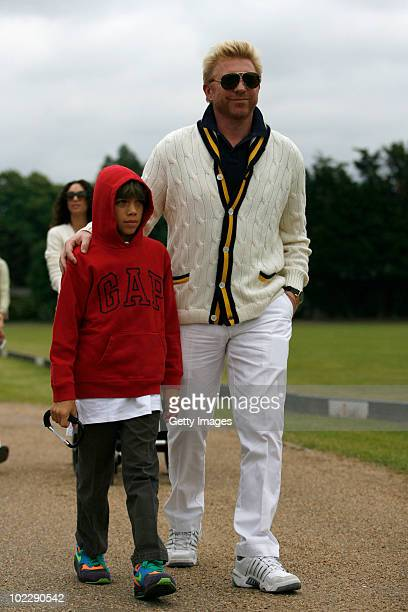 Laureus Ambassador Boris Becker arrives with his son Elias during the Laureus Polo cup at Ham Polo Club On June 18 2010 in London England