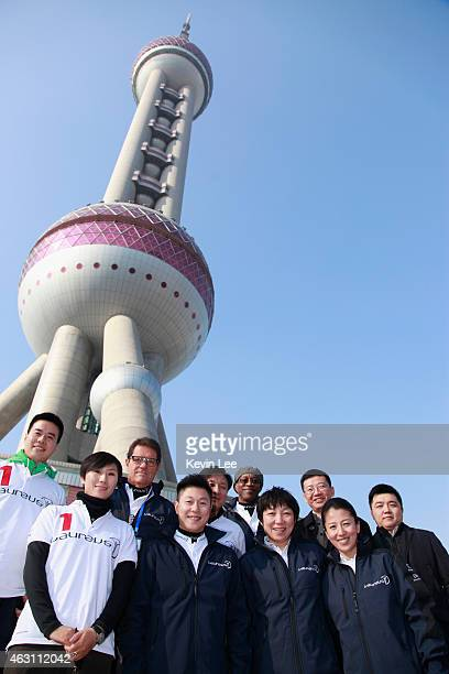 Laureus Ambassador Fabio Capello Li Xiao Ping Laureus Academy Chairman Edwin Moses Sun Wen and Yang Yang pose for a picture in front of Oriental...