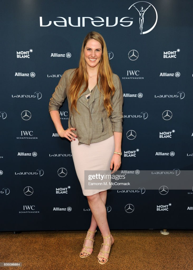 Laureus Ambassador Missy Franklin poses during a media interview prior to the 2017 Laureus World Sports Awards at the Sea Club,Le Meridien on February 13, 2017 in Monaco, Monaco.