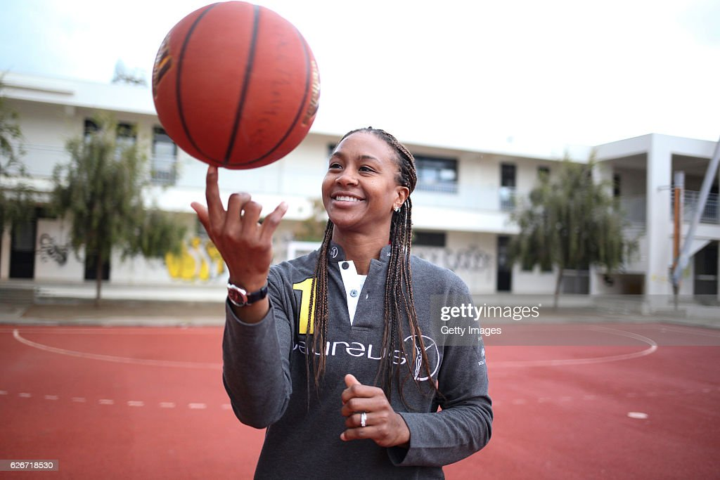 Laureus Ambassador Tamika Catchings during the visit to PeacePlayers of the IWC drawing competition on November 30, 2016 in Nicosia, Cyprus.