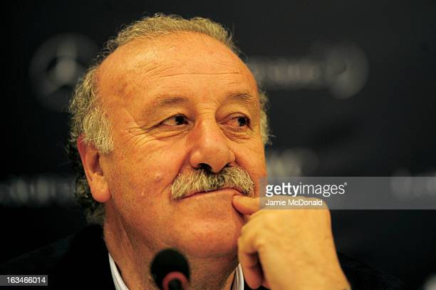 Laureus Ambassador Vicente Del Bosque attends the Football press conference at the Windsor Atlantic during day 2 of the 2013 Laureus World Sports...