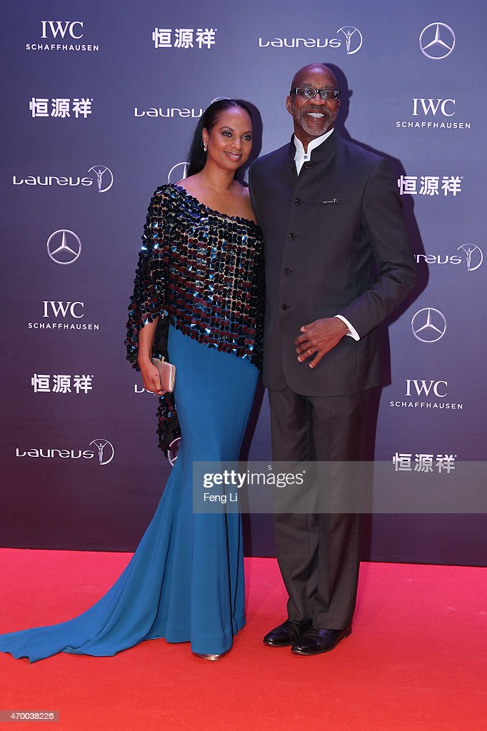 Laureus Chairman Edwin Moses and Michelle Moses attend the 2015 Laureus World Sports Awards at Shanghai Grand Theatre on April 15, 2015 in Shanghai, China.