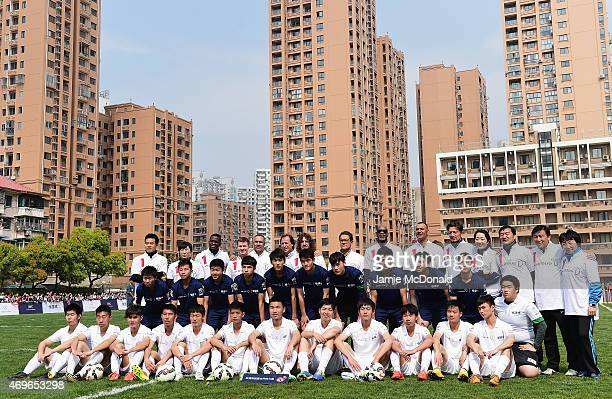 Laureus Chairman Edwin Moses poses with Academy members and ambassadors including Alexey Nemov Daley Thompson Fabio Capello Ruud Gullit former...