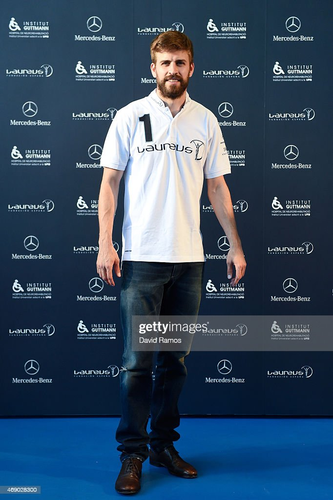 Laureus Foundation Ambassador, FC Barcelona player Gerard Pique poses for a picture on April 9, 2015 in Barcelona, Spain.