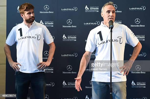 Laureus Foundation Ambassadors FC Barcelona player Gerard Pique and former tennis player Alex Corretja face the media at the Institut Guttmann on...