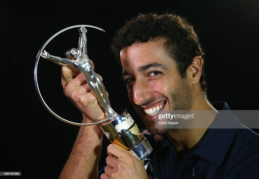 Laureus World Breakthrough of the Year 2015 winner and Formula 1 Motor Racing driver <a gi-track='captionPersonalityLinkClicked' href=/galleries/search?phrase=Daniel+Ricciardo&family=editorial&specificpeople=6547569 ng-click='$event.stopPropagation()'>Daniel Ricciardo</a> of Australia poses with his award on April 09, 2015 in Shanghai, China.