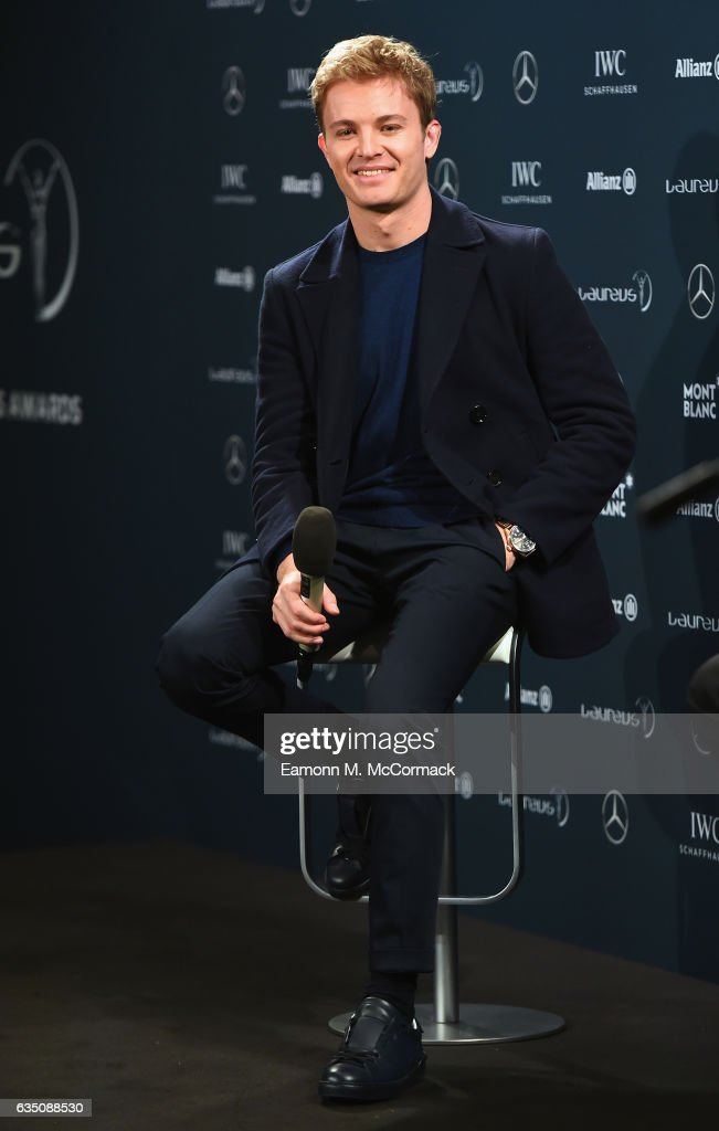 Laureus World Breakthrough of the Year nominee and Laureus Ambassador Nico Rosberg of Germany speaks at a media interview prior to the 2017 Laureus World Sports Awards at the Sea Club,Le Meridien on February 13, 2017 in Monaco, Monaco.