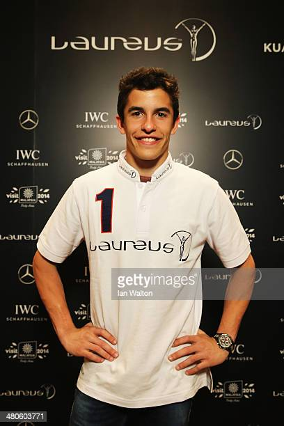 Laureus World Breakthrough of the Year nominee and motor cyclist Marc Marquez poses during a press interview ahead of the 2014 Laureus World Sports...