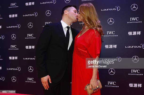 Laureus World Sports Academy member Alexey Nemov and guest attend the 2015 Laureus World Sports Awards at Shanghai Grand Theatre on April 15 2015 in...