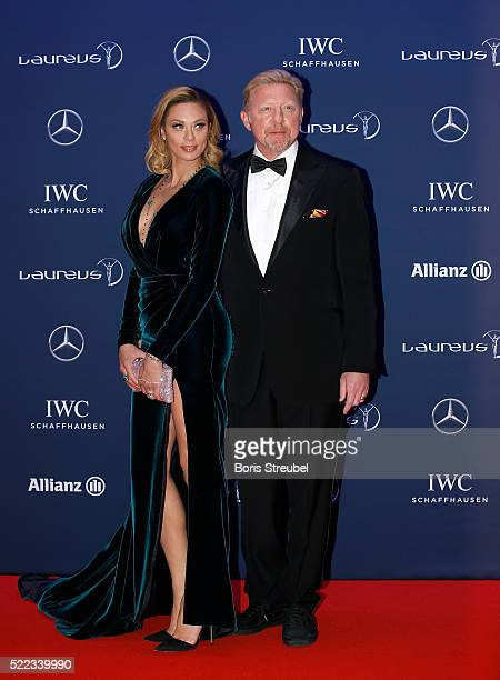 Laureus World Sports Academy member Boris Becker and wife Lilly attend the 2016 Laureus World Sports Awards at Messe Berlin on April 18 2016 in...