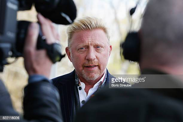 Laureus World Sports Academy member Boris Becker is interviewed prior to the 2016 Laureus World Sports Awards at Messe Berlin on April 18 2016 in...