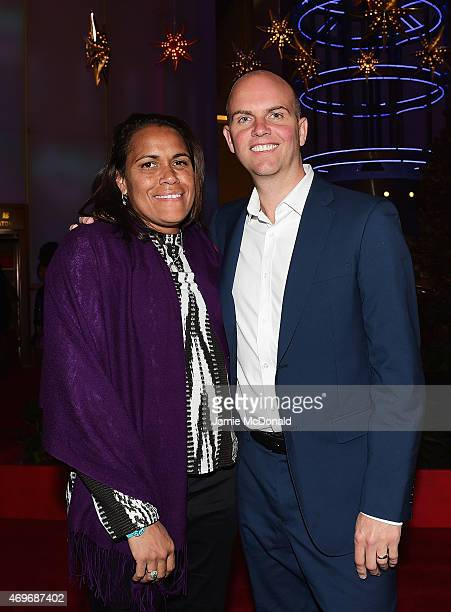 Laureus World Sports Academy member Cathy Freeman and guest arrives for the Laureus World Sports Awards 2015 Welcome Party at the Pearl Tower on...