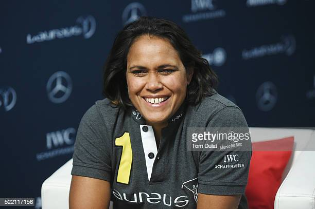 Laureus World Sports Academy member Cathy Freeman is interviewed prior to the 2016 Laureus World Sports Awards at Messe Berlin on April 18 2016 in...