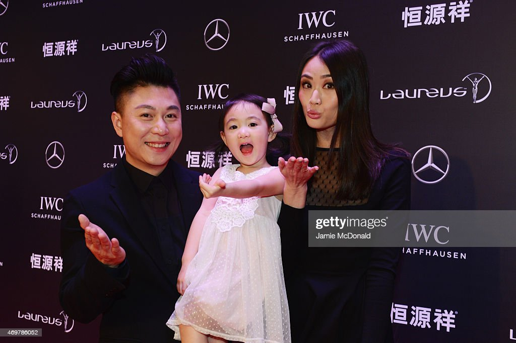 Laureus World Sports Academy member Li Xiaopeng with wife Angel and daughter Olivia attend the 2015 Laureus World Sports Awards at Shanghai Grand Theatre on April 15, 2015 in Shanghai, China.