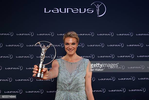 Laureus World Sports Academy member Maria HoeflRiesch of Germany attends the 2016 Laureus World Sports Awards at Messe Berlin on April 18 2016 in...