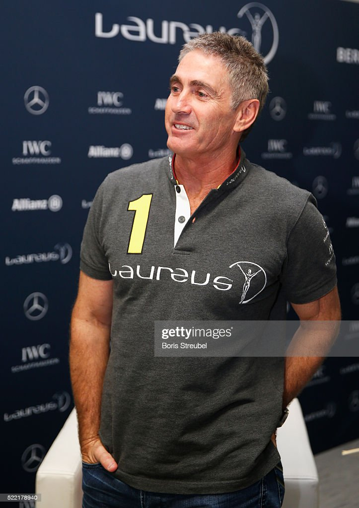 Laureus World Sports Academy member <a gi-track='captionPersonalityLinkClicked' href=/galleries/search?phrase=Mick+Doohan&family=editorial&specificpeople=604096 ng-click='$event.stopPropagation()'>Mick Doohan</a> is interviewed prior to the 2016 Laureus World Sports Awards at Messe Berlin on April 18, 2016 in Berlin, Germany.