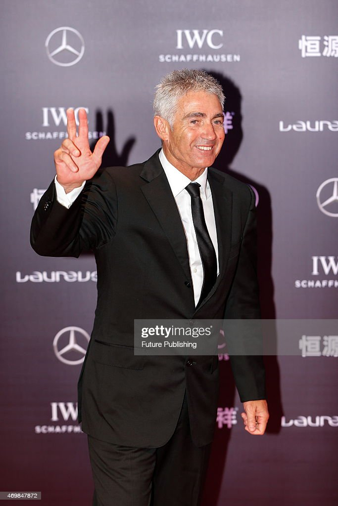 Laureus World Sports Academy member <a gi-track='captionPersonalityLinkClicked' href=/galleries/search?phrase=Mick+Doohan&family=editorial&specificpeople=604096 ng-click='$event.stopPropagation()'>Mick Doohan</a> poses on the red carpet for the Laureus World Sports Awards ceremony at the Grand Theater on April 15, 2015 in Shanghai, China. Feature China / Barcroft Media