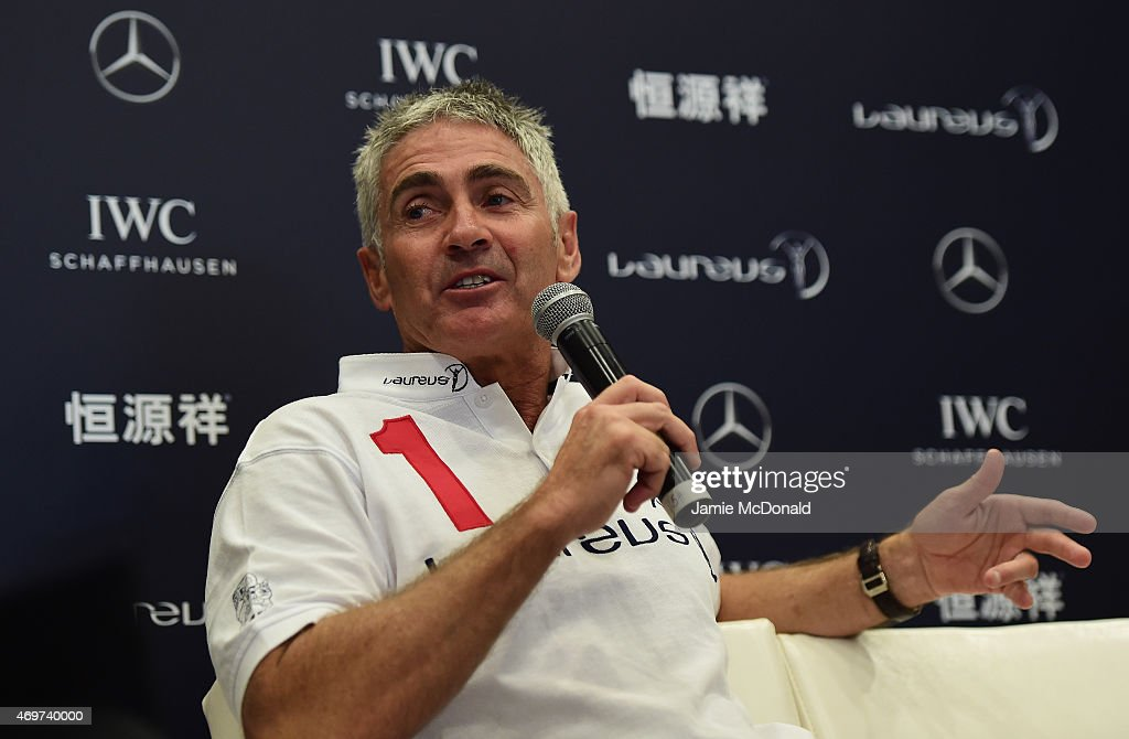 Laureus World Sports Academy member <a gi-track='captionPersonalityLinkClicked' href=/galleries/search?phrase=Mick+Doohan&family=editorial&specificpeople=604096 ng-click='$event.stopPropagation()'>Mick Doohan</a> talks during a media interview at the Shanghai Grand Theatre prior to the 2015 Laureus World Sports Awards on April 15, 2015 in Shanghai, China.
