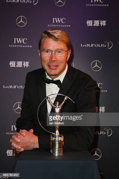 Laureus World Sports Academy member Mika Hakkinen attends the 2015 Laureus World Sports Awards at Shanghai Grand Theatre on April 15 2015 in Shanghai...