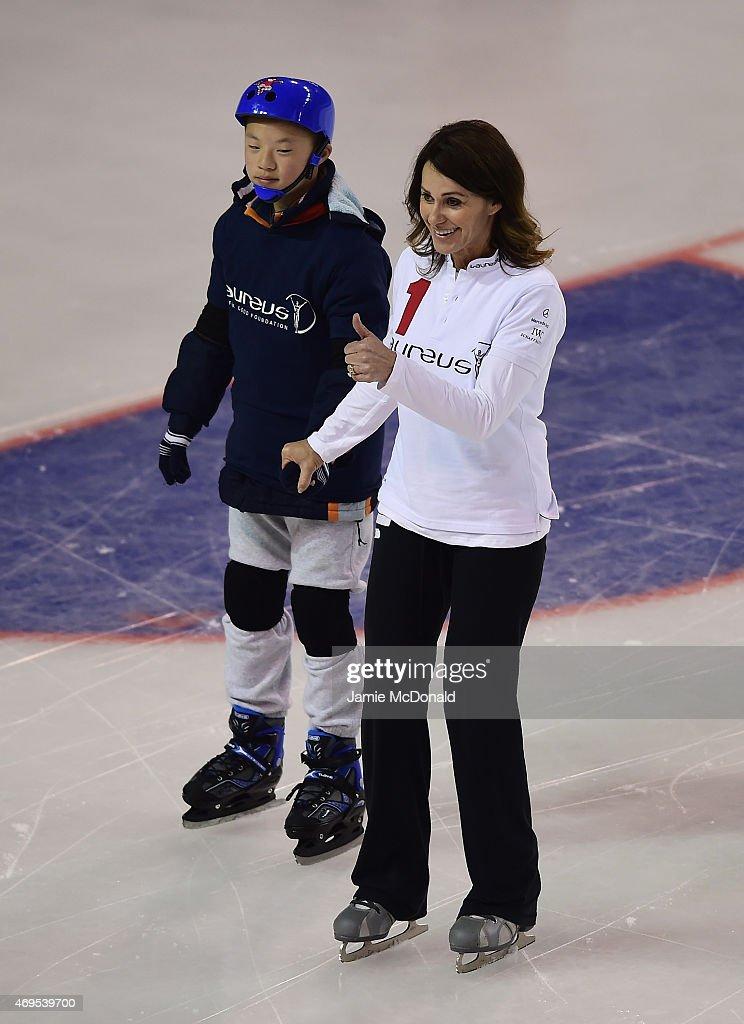 Laureus World Sports Academy member Nadia Comaneci visits a Laureus Sport For Good Project prior to the Laureus World Sports Awards 2015 at the...