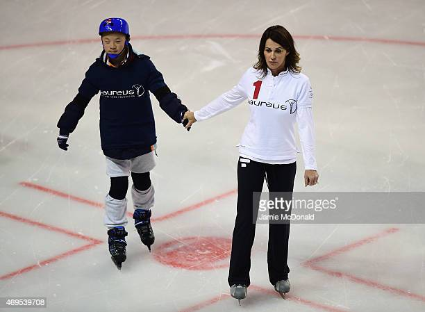 Laureus World Sports Academy member Nadia Comaneci visits a Laureus Sport For Good Project prior to the Laureus World Sports Awards 2015 at the...
