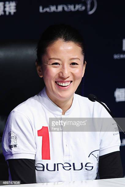 Laureus World Sports Academy member Yang Yang during a media interview at the Shanghai Grand Theatre prior to the 2015 Laureus World Sports Awards on...