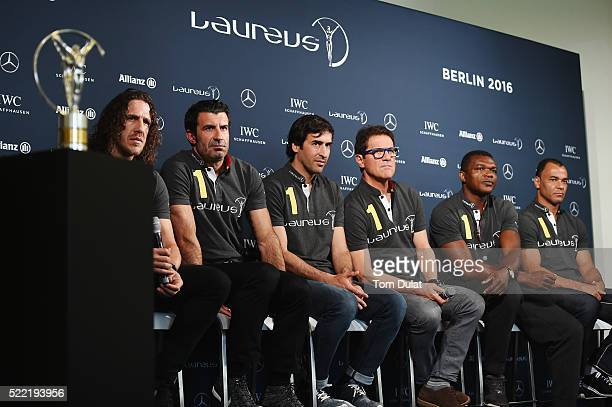Laureus World Sports Academy members Carles PuyolLuis FigoRaul with Laureus Ambassador Fabio Capello and Laureus World Sports Academy members Marcel...