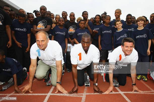 Laureus World Sports Academy Members Lord Sebastian Coe Chairman of the London Organising Committee for the Olympic and Paralympic Games American...