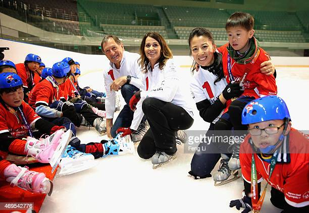 Laureus World Sports Academy members Yang Yang Nadia Comaneci and Franz Klammer visit a Laureus Sport For Good Project prior to the Laureus World...