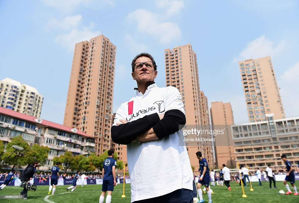 Laureus World Sports Ambassador <a gi-track='captionPersonalityLinkClicked' href=/galleries/search?phrase=Fabio+Capello&family=editorial&specificpeople=241290 ng-click='$event.stopPropagation()'>Fabio Capello</a> looks on during a Laureus Shanghai Football Campus Tour prior to the Laureus World Sports Awards 2015 at Datong Middle School on April 14, 2015 in Shanghai, China.