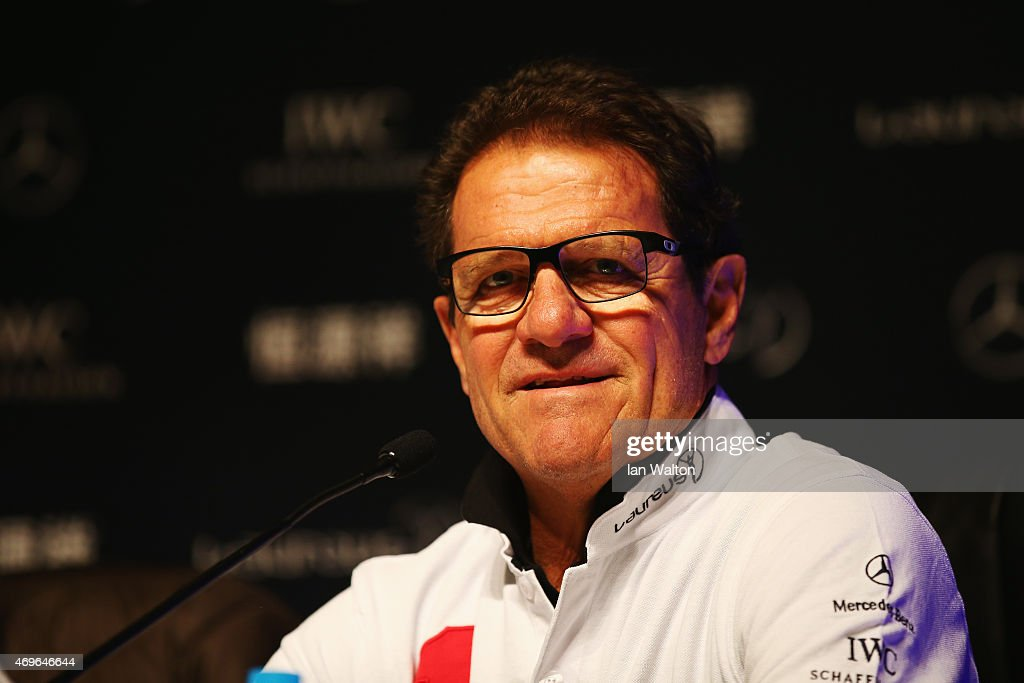 Laureus World Sports Ambassador <a gi-track='captionPersonalityLinkClicked' href=/galleries/search?phrase=Fabio+Capello&family=editorial&specificpeople=241290 ng-click='$event.stopPropagation()'>Fabio Capello</a> speaks during a Goals For The Future for Football debate at the Shanghai Grand Theatre prior to the Laureus World Sports Awards on April 14, 2015 in Shanghai, China.