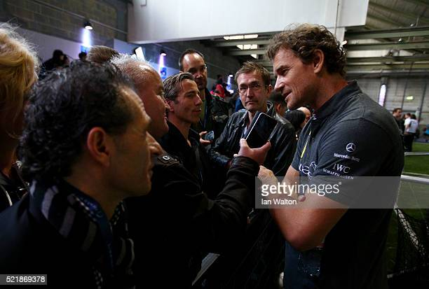 Laureus World Sports Ambassador Jens Lehmann speaks to the media during the Laureus Sport for Good Jam at The Base on April 17 2016 in Berlin Germany