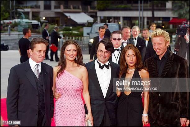 Laureus World Sports Awards ceremony In Monaco City Monaco On May 14 2002Michael Douglas with Catherina Zeta jones and Boris Becker with his...