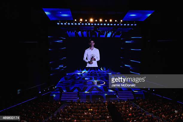 Laureus World Sportsman of the Year 2015 Novak Djokovic speaks on a video during the 2015 Laureus World Sports Awards show at the Shanghai Grand...