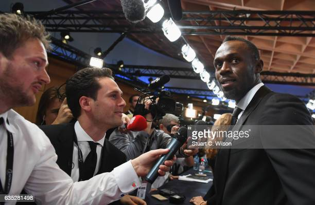 Laureus World Sportsman of the Year Award nominee Athlete Usain Bolt of Jamaica speaks to the media while at the 2017 Laureus World Sports Awards at...